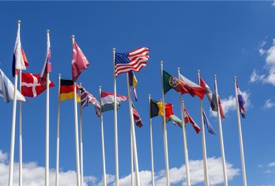 National flags on the masts. The flags of the United States, Germany, Belgium, Italia,Israel, Turkey and other
